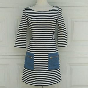 Tabitha {Anthro} 3/4 Sleeves Striped Dress